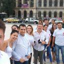 Campania de informare a PES activists București cu privire la Președinția României la Consiliul Uniunii Europene.